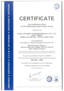 Certificate for ISO 9001:2008